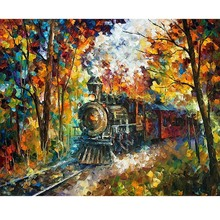 Hand Painted Landscape Abstract Train Color-rich room decor Knife Modern Oil Painting Canvas Art Living Room hallway Artwork