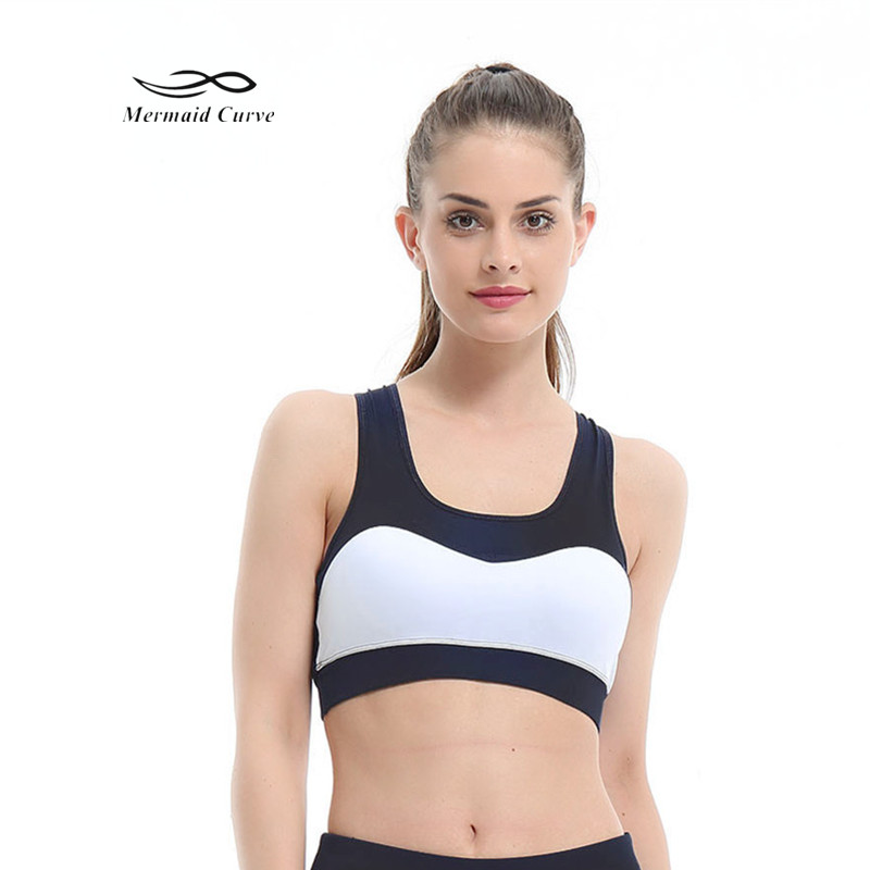 582811cf46570 Mermaid Curve 2018 New Style Sports Bra Women Back Mesh Fitness Patchwork Yoga  Bras Padded Workout Gym Tank Top Running Yoga Bra-in Sports Bras from Sports  ...
