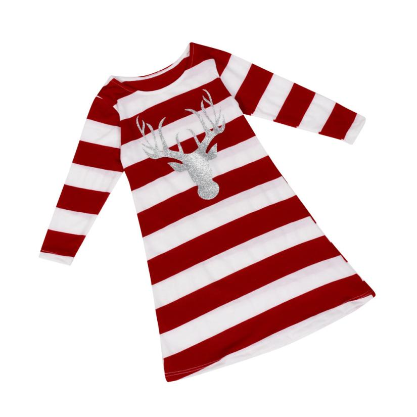 snowshine #5003  Girl Children Fashion Stripe Dress Round Collar Christmas Elk Long Sleeve Dress