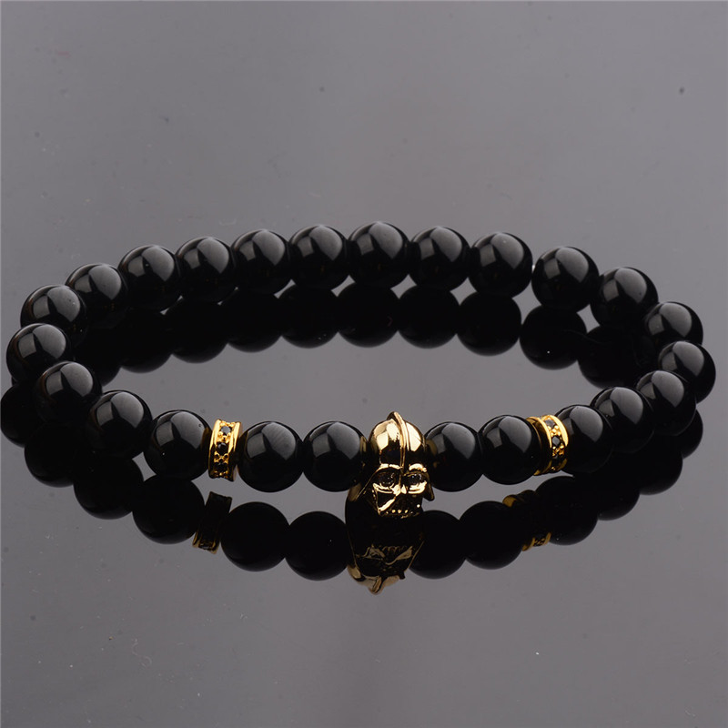 DOUVEI 17 New Charm Mens Star Wars Darth Vader CZ Beaded Bracelets 8mm Bright Black Lava Stone AB1012 4