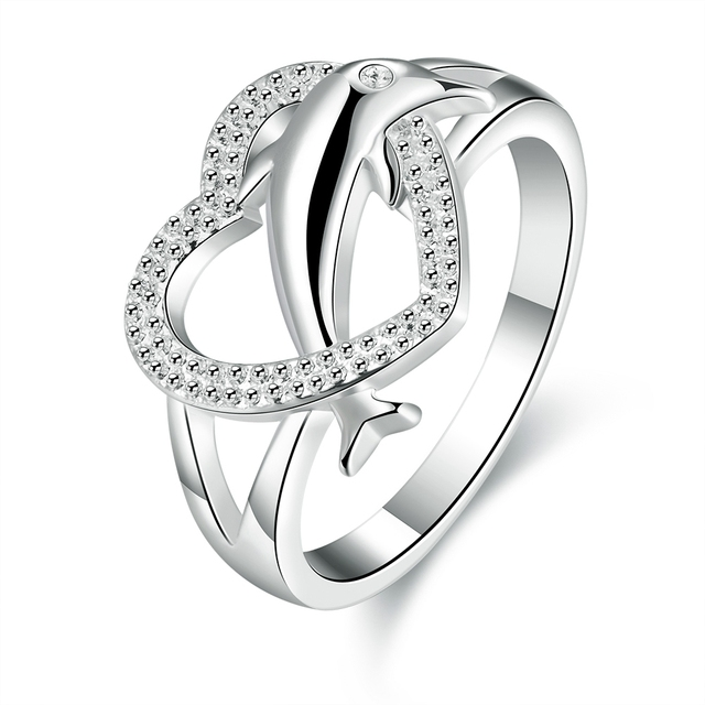 svex 2017 heart wedding ring for women fashion crystal engagement rings dolphin jewelry for women lady bagues femme - Dolphin Wedding Rings