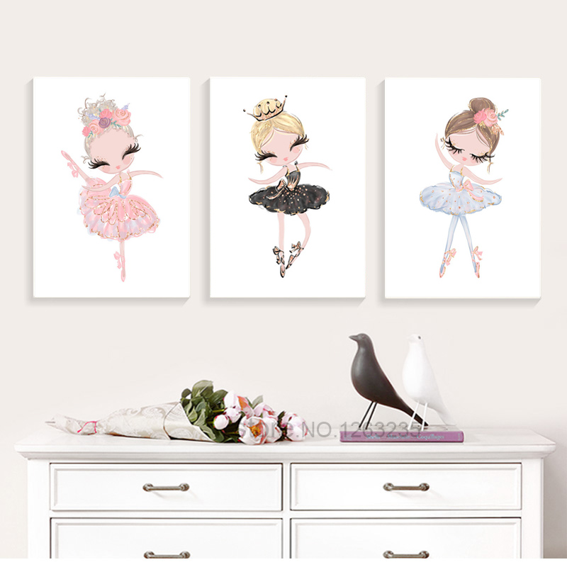 Ballet Princess Nursery Nordic Poster Unicorn Wall Art Canvas Painting Swan Wall Pictures For Children Room Kid Cuadros Unframed