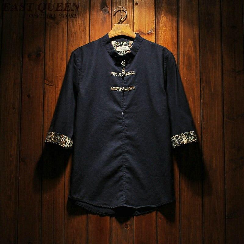 Chemises en lin hommes vêtements 2018 homme chemise en lin traditionnel chinois homme vêtements oriental hommes vêtements AA934