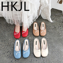 HKJL Spring 2019 new womens shoes Korean version bowknot round head shallow mouth baotou lazy half slipper women A415