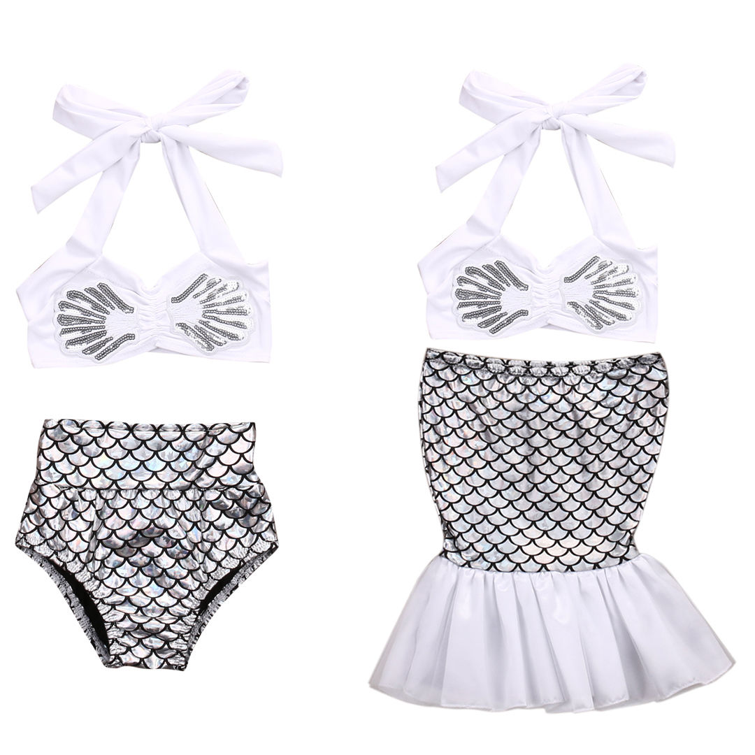 2018 New Summer Mermaid Silver Bikini Baby Girls Bikini Set Two Piece Swimwear Swimsuit Bathing Wear Tops+Briefs Set