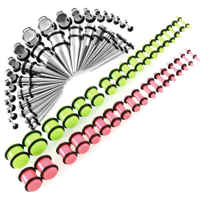 72pcs/set 14G 00G Stainless Steel Taper Plugs and Tunnels Ear Stretching Kit UV Acrylic Plug Gauges Body Piercing Jewelry