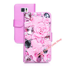 Hot Flower For Galaxy S6 Case Diamond Crystal Flip Wallet Leather Case For Samsung Galaxy S6