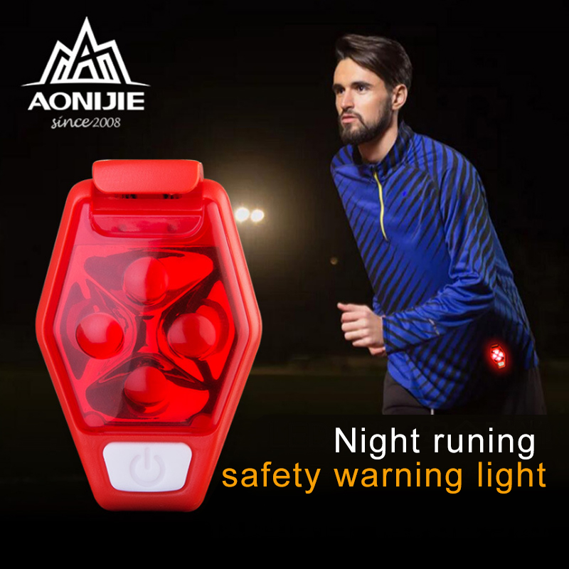 AONIJE Back Clip Signal Lamp 4 LED IPX4 Waterproof Night Running Sports Riding Warning Lights Bicycle Tail Lamp 4 Modes Camping