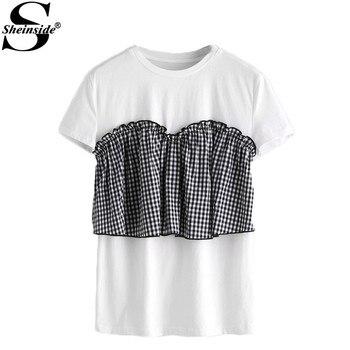 Sheinside Tie Back Frilled Checkered Bustier T-shirt Cute Summer Color Block Tee Shirt Women White Plaid T-shirt