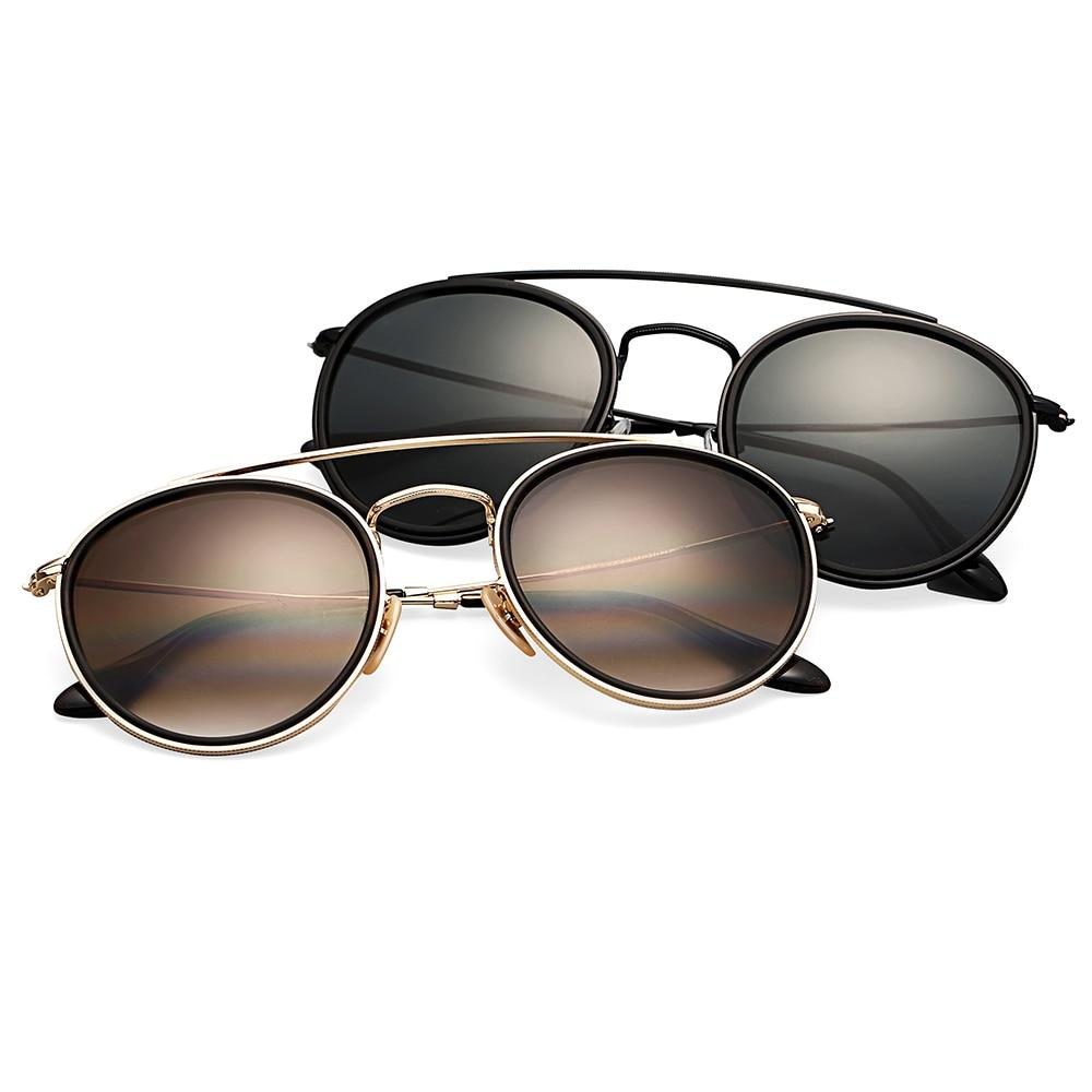 3647 Bolo. ban óculos de sol das mulheres dos homens polarizados 51mm lente de vidro espelho redondo UV400 dupla ponte óculos oculos de sol Gafas