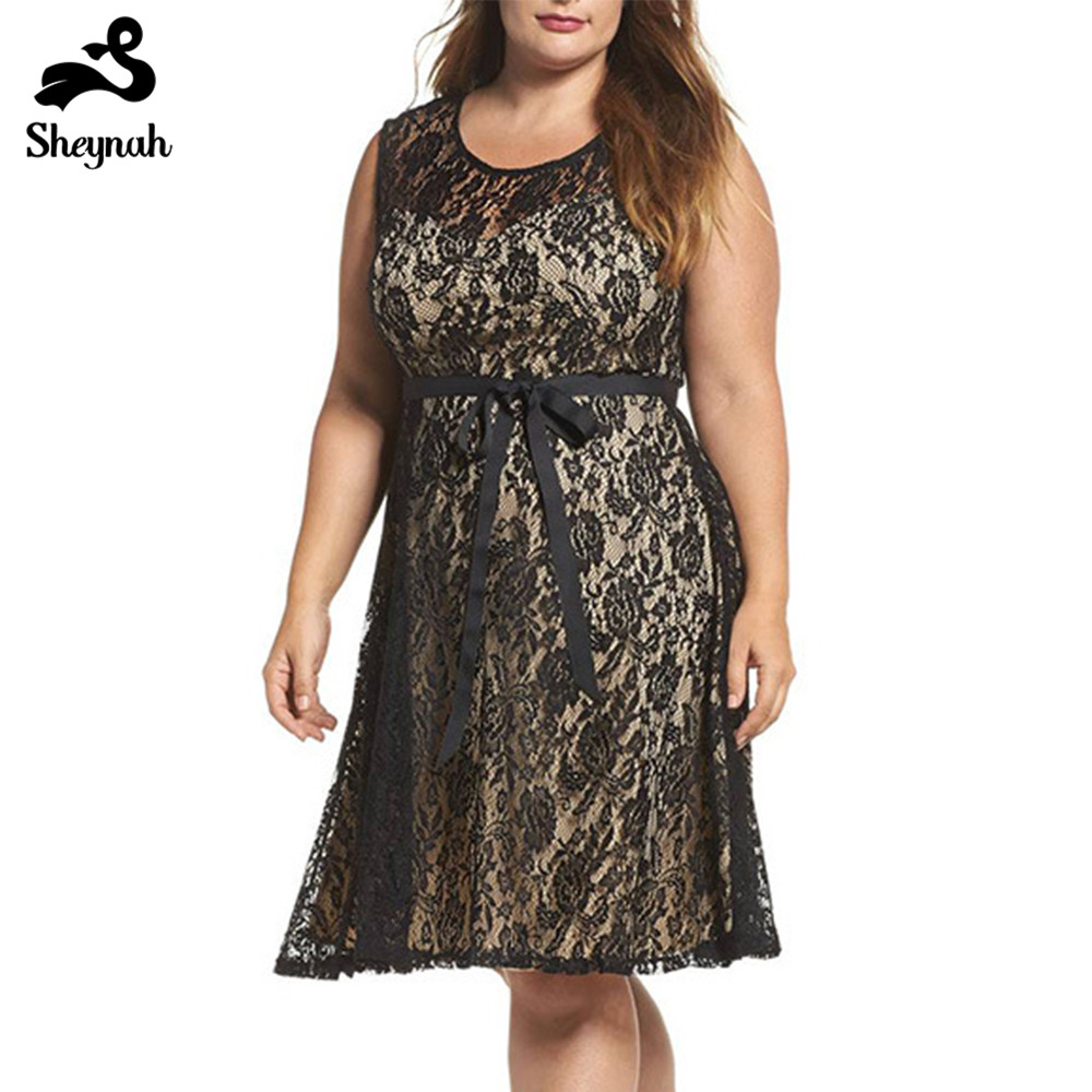 7xl <font><b>8xl</b></font> <font><b>Plus</b></font> <font><b>Size</b></font> Woman Elegant Hollow Out Midi <font><b>Dress</b></font> Black Lace Knee-length Sleeveless <font><b>Dresses</b></font> Big <font><b>Size</b></font> Evening Party Vestidos image