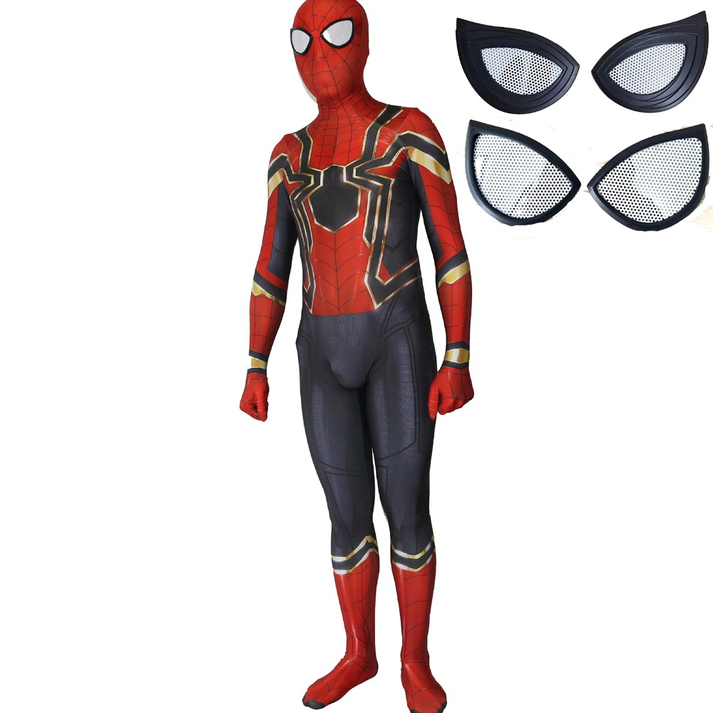 Avengers Spiderman Cosplay Costume Suit Eye Lens 3D Spider Man Superhero Bodysuit Spandex Lycra Zentai Jumpsuits Costumes Adult