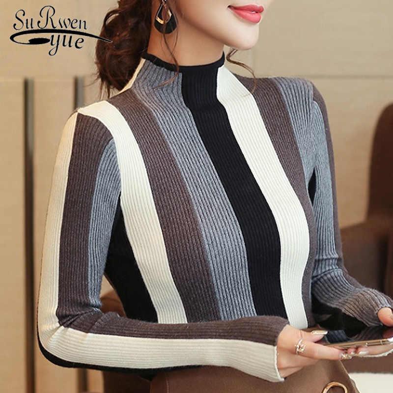 セーター mujer invierno 2019 長袖ストライプニットセーターの女性のファッションエレガントな秋プルオーバータートルネックセーター 1327 80