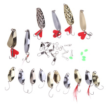37 Pcs/Set Mixed Colors Fishing Lures Spoon Bait Metal Lure Kit Spinning Artificial Hard Bait Fishing Tackle Bait High Quality