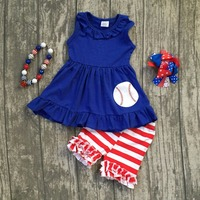 Baby Girls Summer Clothing Children Girls Baseball Summer Outfits Children Girls Top With Res Stripes Shorts