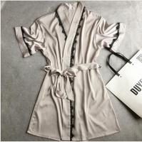 Summer Hot Sale Women S Satin Lace Short Robe Solid Kimono Bathrobe Gown Sexy Peignoir Wedding