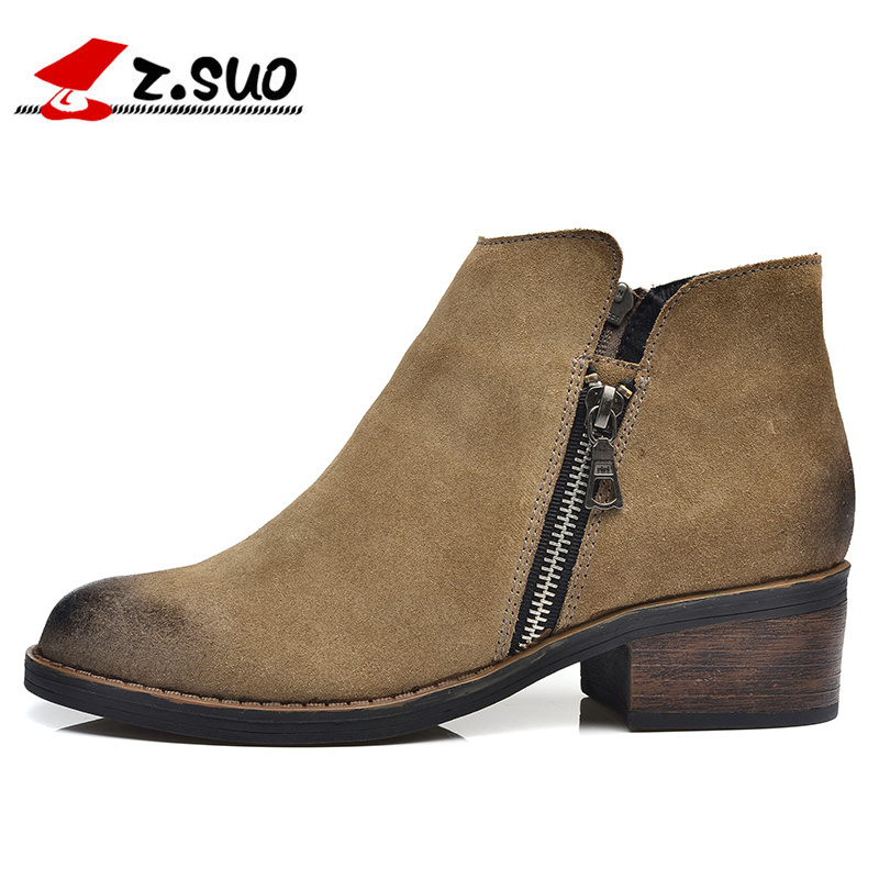 Z. Suo Autumn Women Medium Heel Boots 100% Genuine Nubuck Leather Women's Ankle Boot Fashion Short Martin Shoes Size 36-39 цены онлайн