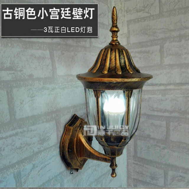 European vintage retro villa loft corridor bronze led waterproof outdoor wall lamp light hall club decor