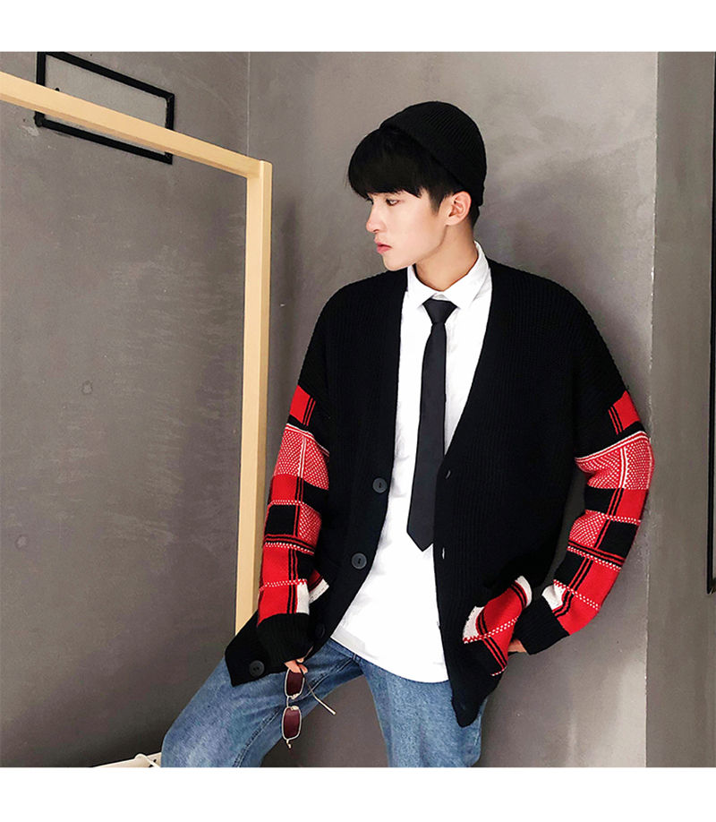 Korean Oversized Sweater Cardigan Men Plaid (18)