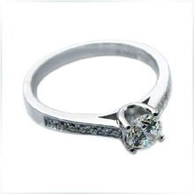 Super Brilliant Gold Ring Solid 18K 750 White Gold Proposal Ring Quality Guarantee 0.5Ct Simulate Diamond Ring Female Jewelry(China)