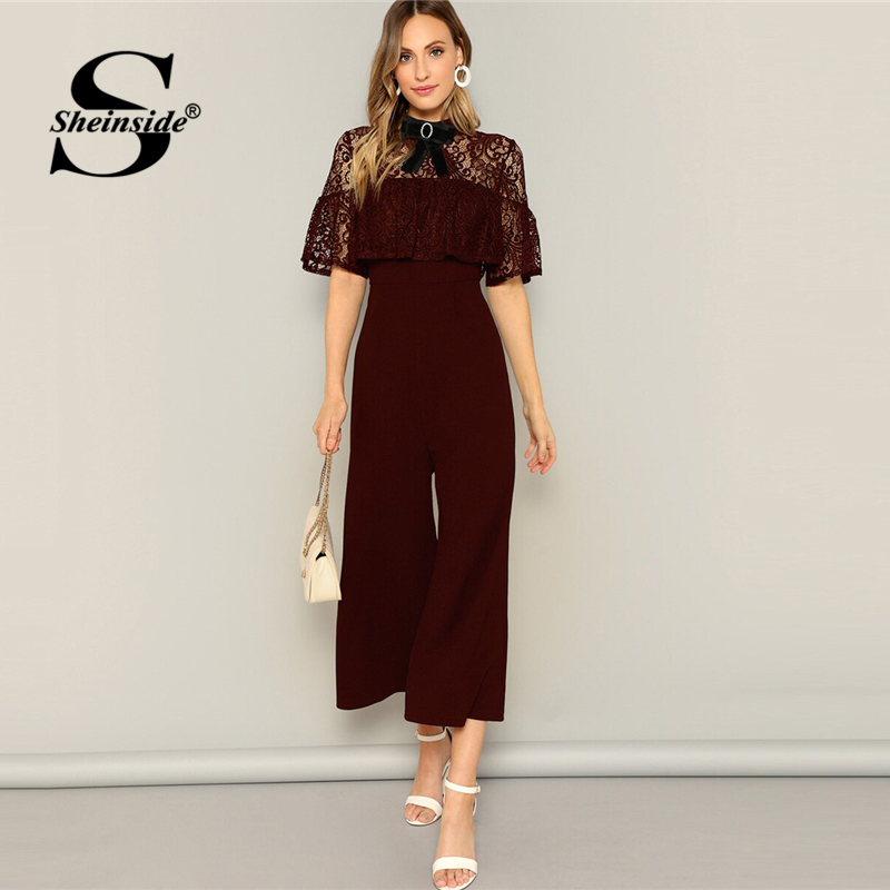 Sheinside Casual Embroidered Lace Wide Leg   Jumpsuit   Women 2019 Spring Elegant Bow Detail   Jumpsuits   Ladies Half Sleeve   Jumpsuit