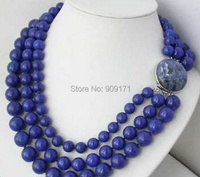 Free Shipping>>3row 10mm 12mm 14mm blue nature round lapis lazuli bead necklace