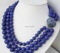 Frete grátis > > 3row 10 mm 12 mm 14 mm azul natureza rodada lapis lazuli do grânulo colar