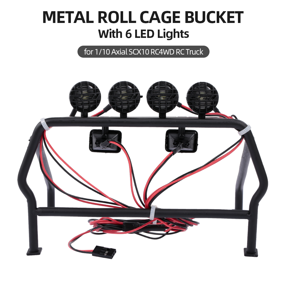 RC Parts High Quality Metal Roll Cage Bucket With 6 LED Lights For 1/10 Axial SCX10 RC4WD RC Jeep Truck Car