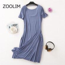 ZOOLIM 100% Modal Cotton Solid Color Women Nightdress Autumn Fashion Night Shirts Nightgowns Womens Nightwear Sleepwear Dress