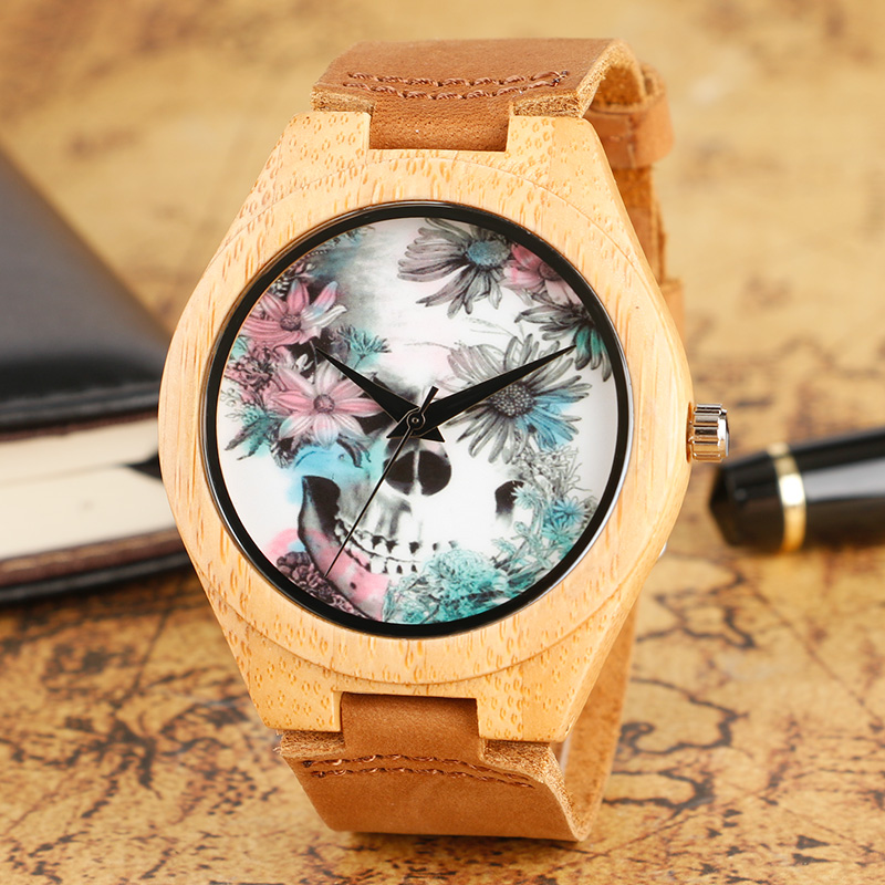 Fashion Wood Watch Skull and Flower Deisgn Wrist Watch Special Handmade Natural Bamboo Brown Band Quartz Watches Men Women Gift creative rectangle dial wood watch natural handmade light bamboo fashion men women casual quartz wristwatch genuine leather gift