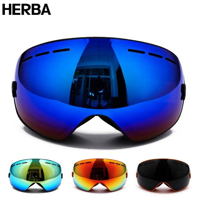 New HERBA  brand ski goggles Ski Goggles Double Lens UV400 Anti-fog Adult Snowboard Skiing Glasses Women Men Snow Eyewear
