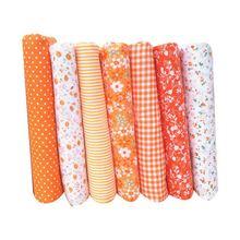 fc6889c1f9 Urijk 25x25 cm 50x50 cm 7 pcs Laranja Floral Série Tecido de Algodão Para  Costura Quilting Pano bonecas de Material DIY Patchwor.