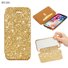 MPLSBO Glitter Flip Phone Cases For iPhone 6 6s 7 8 Plus 5 5S 5E X Shockproof Cover Case With Card Pocket