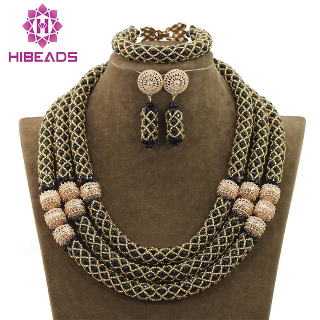 Splendid Black Gold Jewelry Set Nigerian Beads Crystal Necklace Earrings Set Brand Jewelry Sets Free Shipping WD779