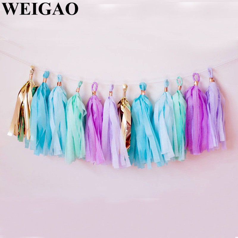 WEIGAO 5Pcs Colorful Party Tissue Tassels Garland DIY Birthday Wedding Party Backdrop Banner Baby Shower Table Decoration Supply