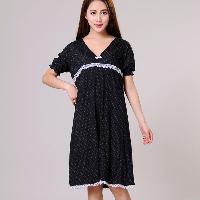 Women Nightgowns Female Sleepshirt Spring 2020 New  Summer 100% Cotton Lady Nightdress Mum Lounge S M L XL Black Blue White