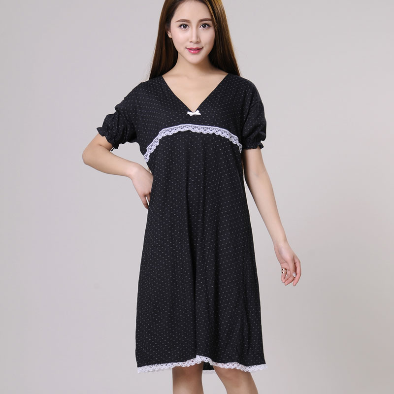 Women   Nightgowns   Female   Sleepshirt   Spring 2019 New Summer 100% Cotton Lady Nightdress Mum Lounge S M L XL Black Blue White