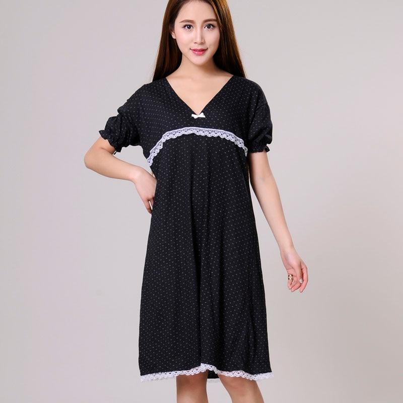 Women   Nightgowns   Female   Sleepshirt   Spring 2019 New Summer 100% Cotton Lady Nightdress Mum Lounge S M L XL Black Blue White