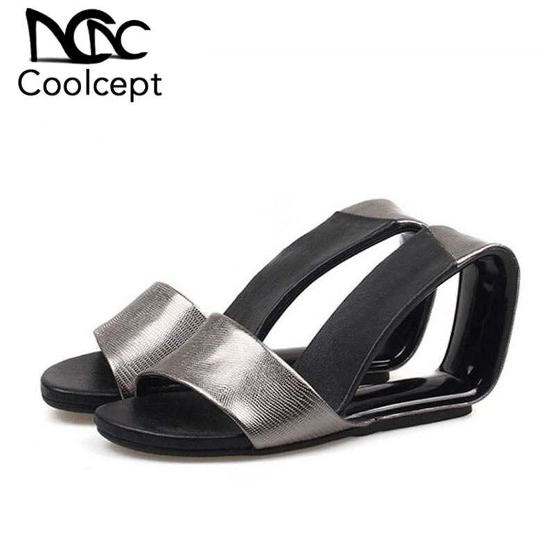 Coolcept 5 Colors Women High Heel Sandals Genuine Leather Brand Slipper Strange Heel Sandals Sexy Women