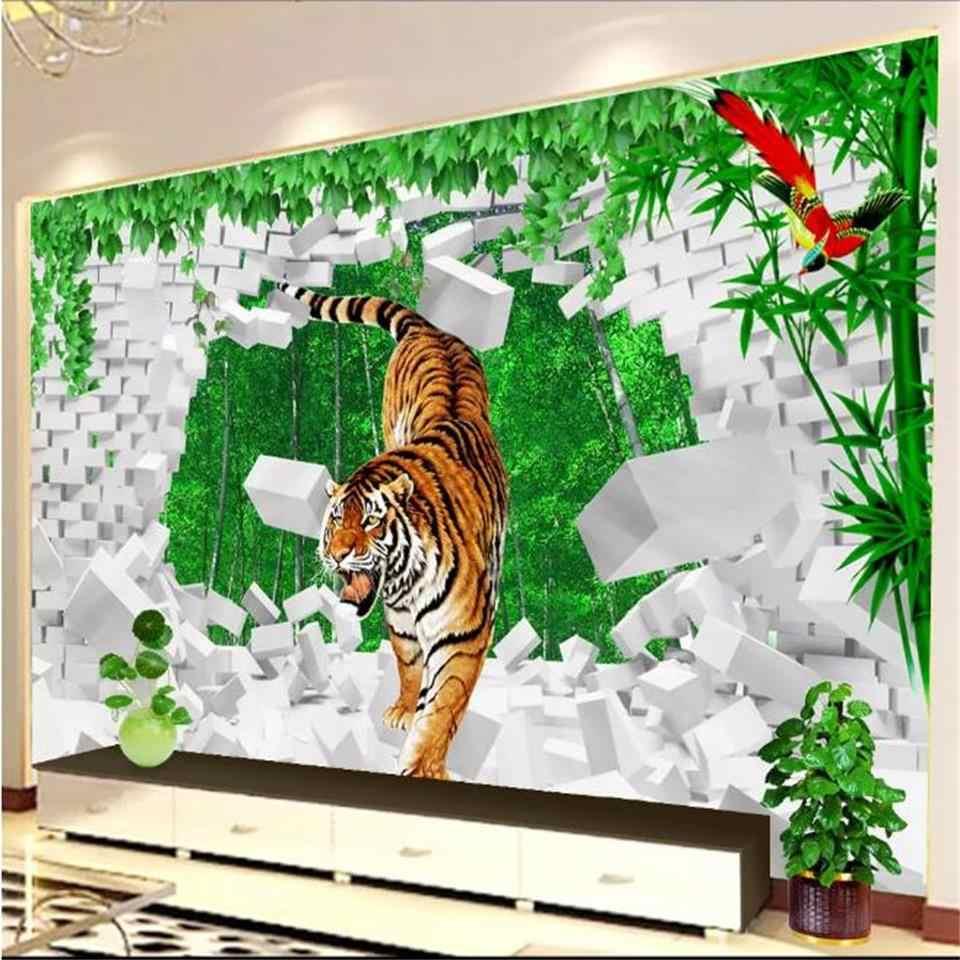 Пользовательские 3d фото обои для гостиной Тигр кирпичная стена бамбуковое дерево живопись Диван ТВ фон стены нетканые настенные Стикеры