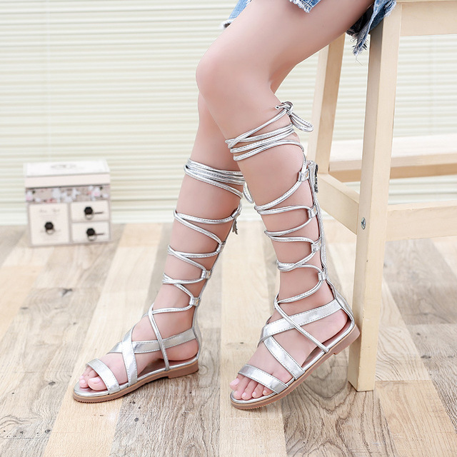 a44a796b18c 2016 Girls Summer Shoes Knee High Gladiator Sandals Kids Cross strap Sandals  White and Black Children Lace-up Boot