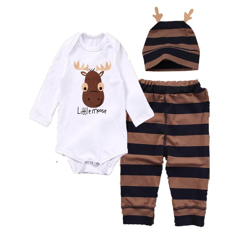 3PCS Set Newborn Baby Girl Boy long sleeve o-neck ox cow head Romper +striped long Pants +Hat Outfits Clothes 0-18M ...