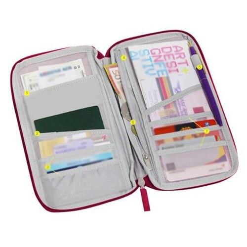 Wine Red Travel Wallet Document Organizer Pas Ticket Holder Closure Zip