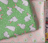 145cm 50cm Cotton Linen Fabric Cartoon Rabbit Flower Sewing Clothes Curtains Tablecloth Quilting Patchwork Fabric For
