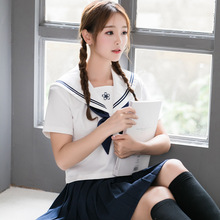 Japanese uniform school new embroidery student suit JK  sailor orthodox summer white collar two-piece