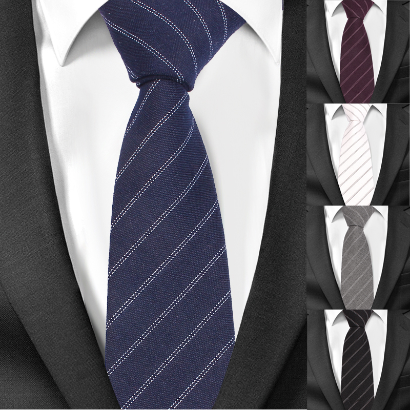 New Classic Striped Neck Ties For Men Fashion Casual Cotton Tie Gravatas Business Skinny Mens Neckties Corbatas Men Ties