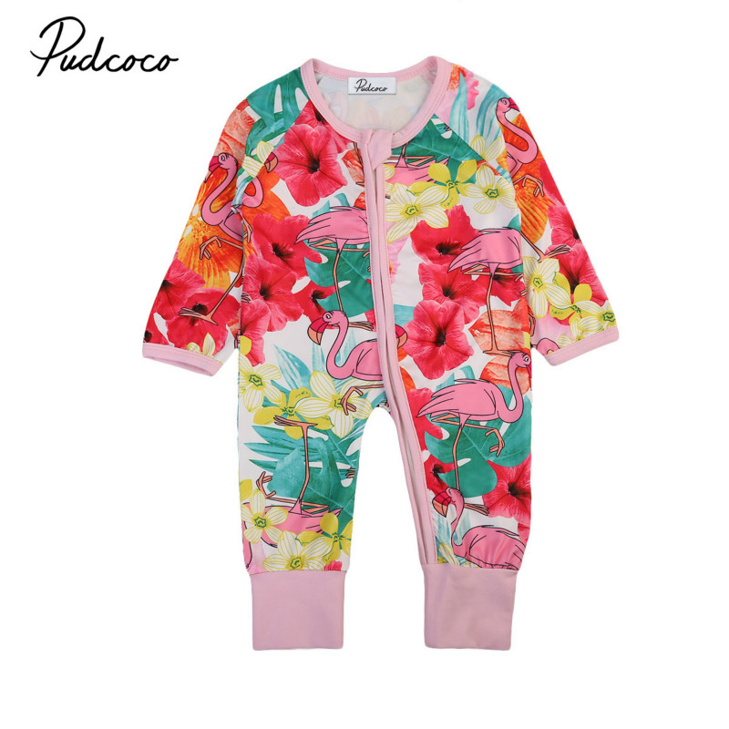 Newborn Infant Baby Kids Girls Floral Long Sleeve Romper Jumpsuit Clothes Outfit