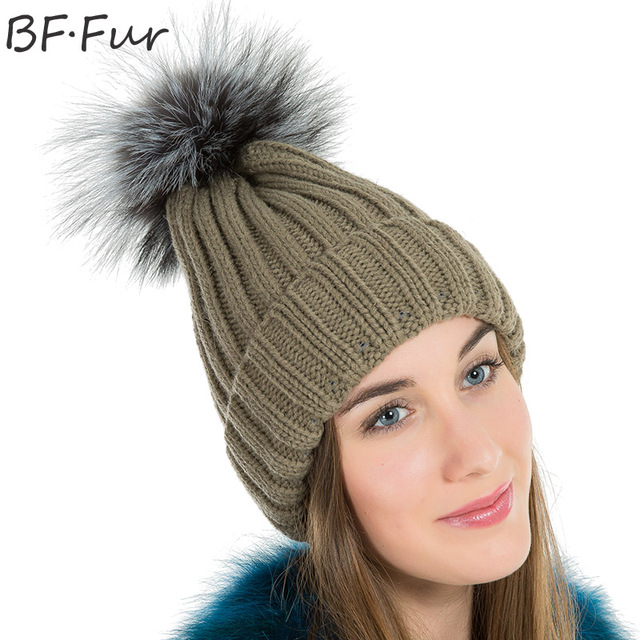 5f3cac0c1db BFFUR Original Fox Fux Beanies Hats For Girls Adults Women Winter Warm  Thick Casual Natural Color Animal Pompom Cap Solid Hats