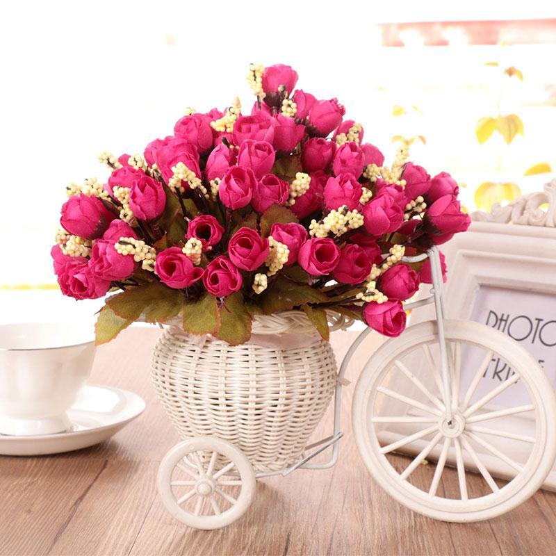5pcs bouquet european silk flowers artificial fall vivid peony fake