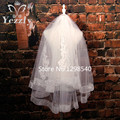 Real Pictures Cheap 1.5m Ribbon Edge Bridal Veils With Comb White/Ivory Applique Pearls Elbow Length Short Wedding Veils WB52